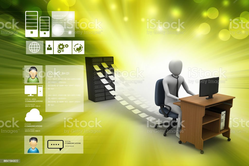 3d clerk working in the office royalty-free stock photo