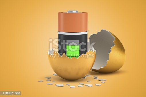 3d closeup rendering of almost full battery that just hatched out from golden egg. Restore energy levels. Rehab and relax. Boost mood.