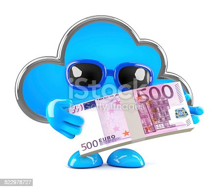 3d render of a cloud character holding a stack of Euro bank notes