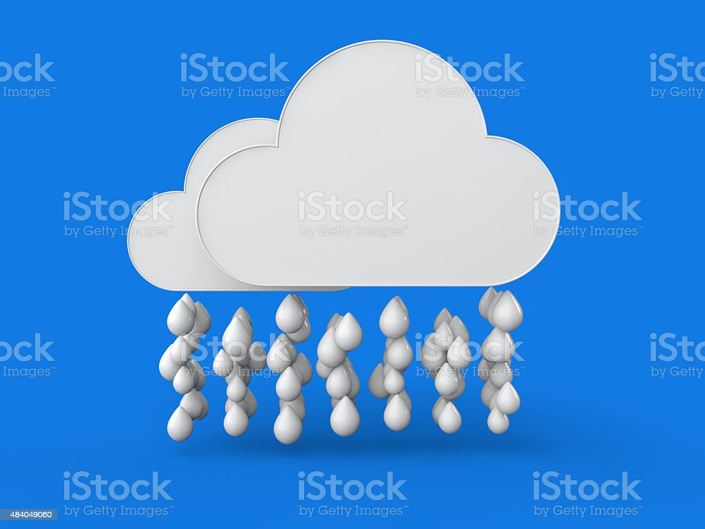 3d clouds and rain drops stock photo