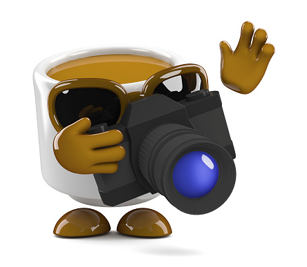 3d Coffee cup takes a photo