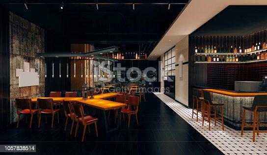 istock 3d coffee pub loft style, interior render 1057838514