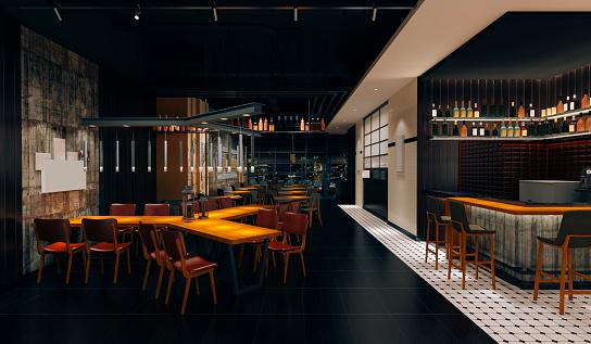 3d coffee pub loft style, interior render