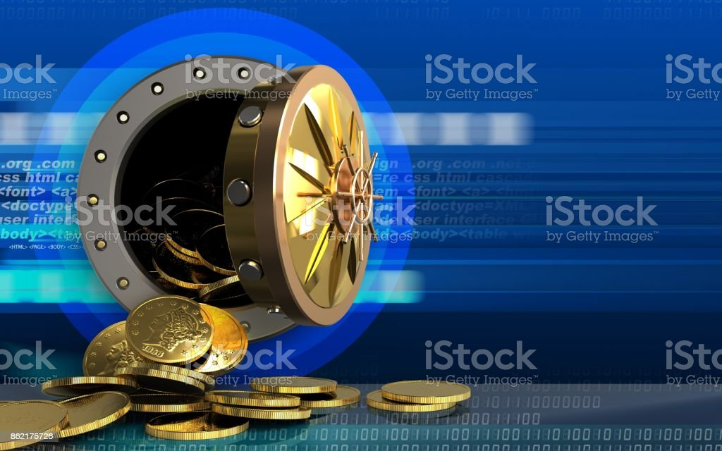 3d Coins Over Cyber Stock Photo - Download Image Now - iStock