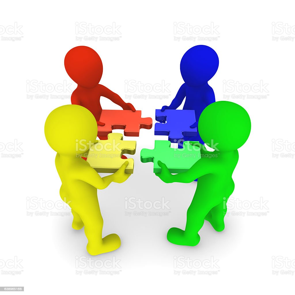 3d Colored People Connecting Jigsaw Puzzle Stock Photo More