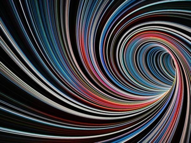3d colorido túnel trenzado vacío de líneas - hélice forma geométrica fotografías e imágenes de stock