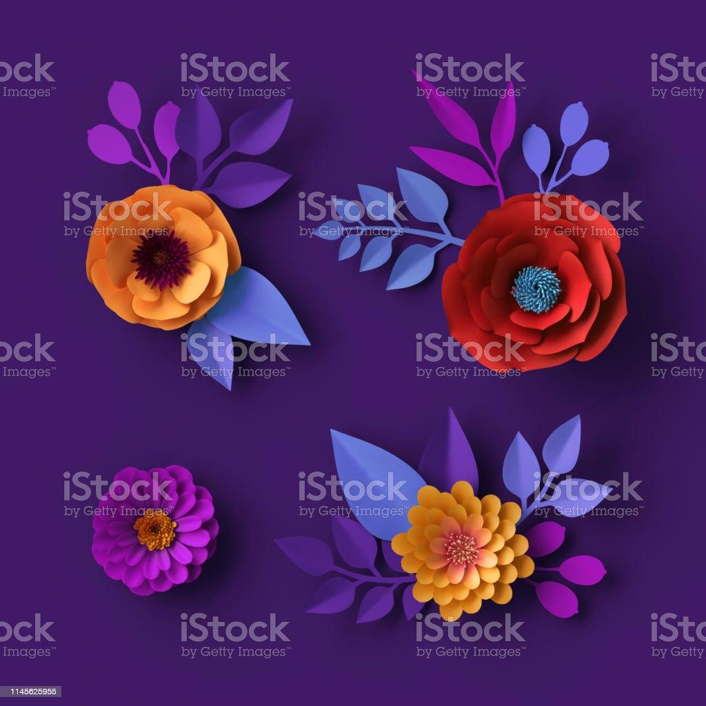 3d カラフルなネオンの紙の花の壁紙植物の背景赤いポピーピンクのダリア春の夏のクリップアート花のデザイン要素 3dのストックフォトや画像を多数ご用意 Istock
