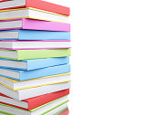 3d illustration. Colorful stack of books. Education concept. Isolated white background.