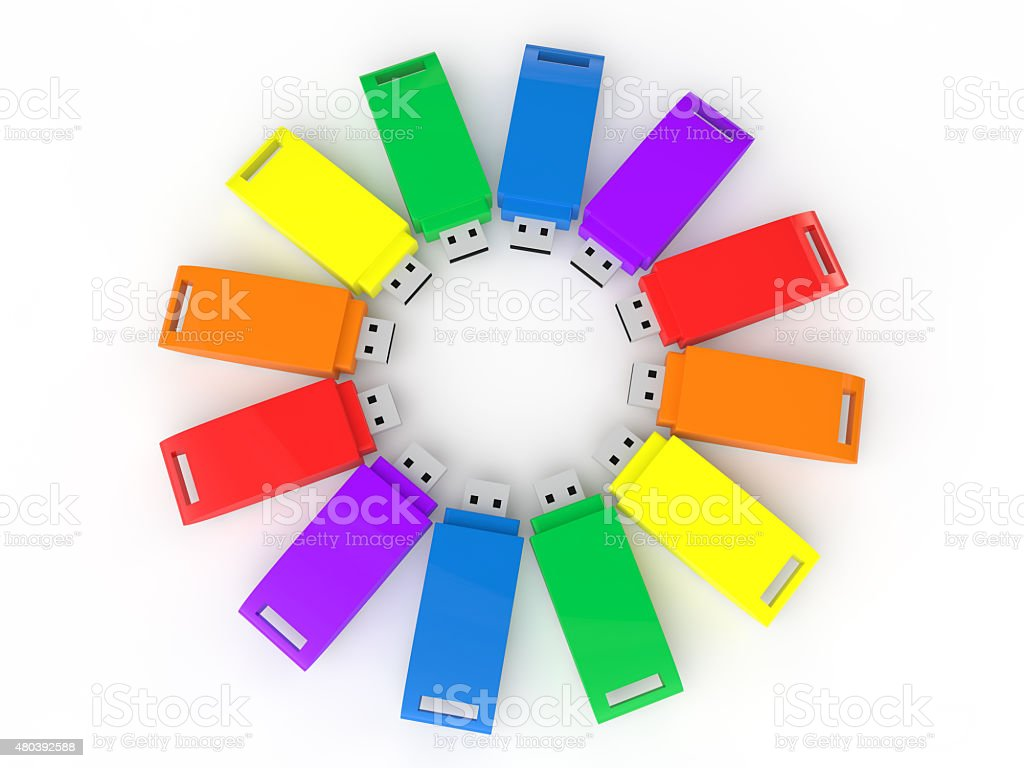 3d colorful USB flash drives stock photo