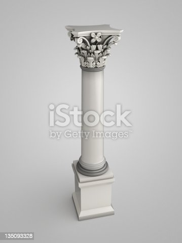 istock 3d column with floral ornaments 135093328
