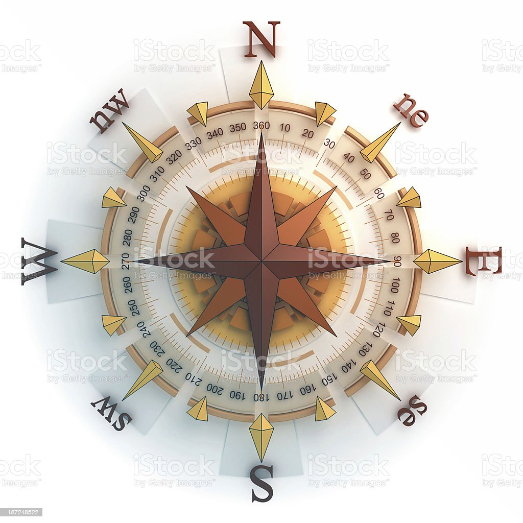 3d compass rendering in authentic colors stock photo