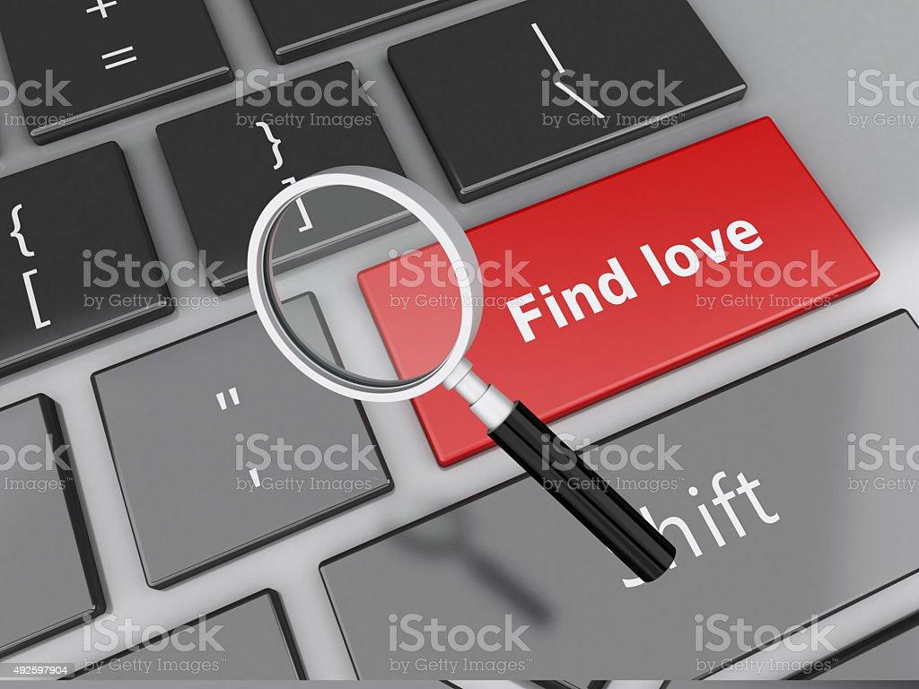 3 d computador teclado com botão vermelho amor. - foto de acervo