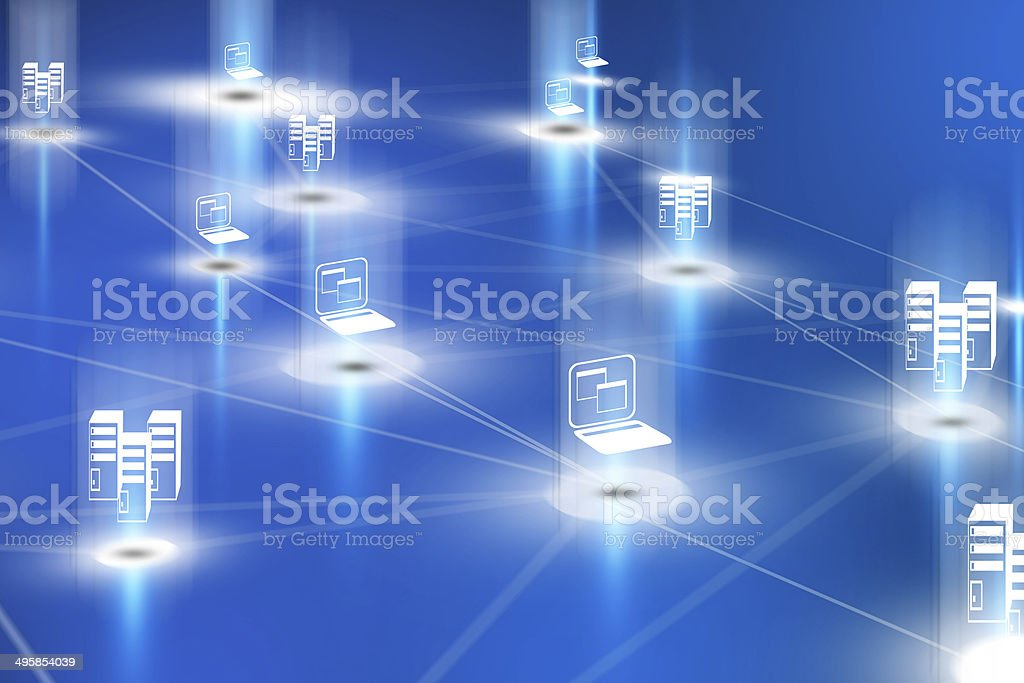 3d computer network with servers and notebooks royalty-free stock photo