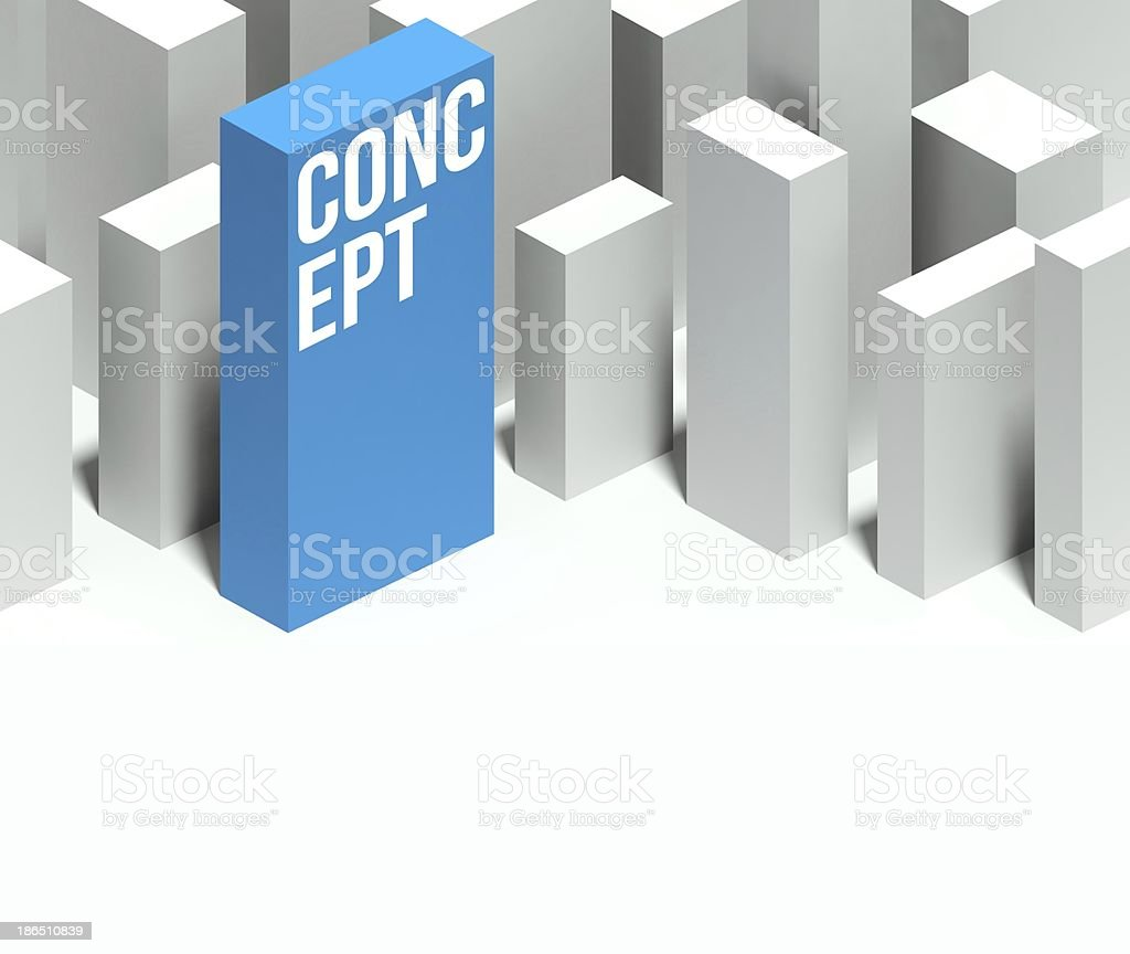 3d concept model of city with distinctive skyscraper royalty-free stock photo