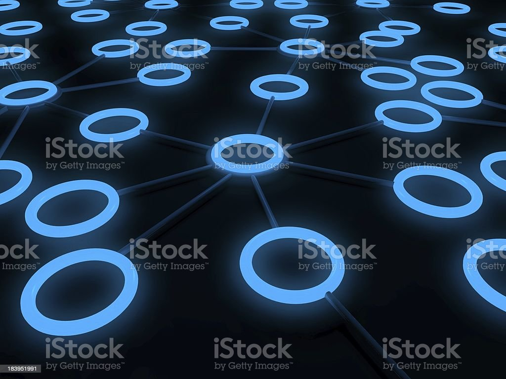 3d concept of network with glowing circles royalty-free stock photo
