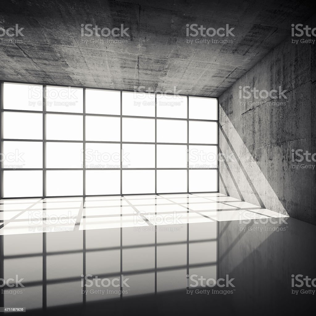 3d Concrete Interior With Bright Windows In Modern Frames Stock ...