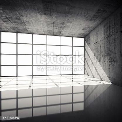 istock 3d concrete interior with bright windows in modern frames 471187926