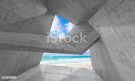 516688156istockphoto 3d concrete interior with sunny beach outside 522633890