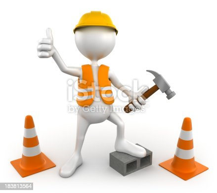 471353682istockphoto 3d Construction worker, isolated with clipping path 183813564