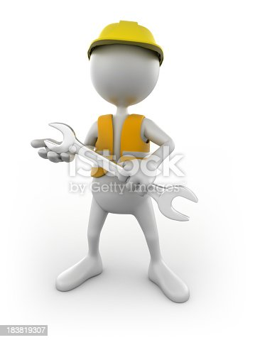 471353682istockphoto 3d Construction worker with spanner, isolated w. clipping path 183819307