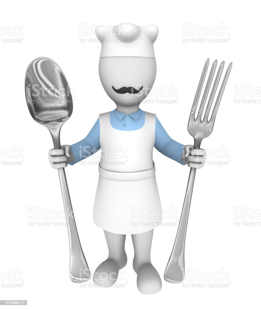 3d cooking chef. Big fork and spoon. 3d rendered illustration with small people. stock photo