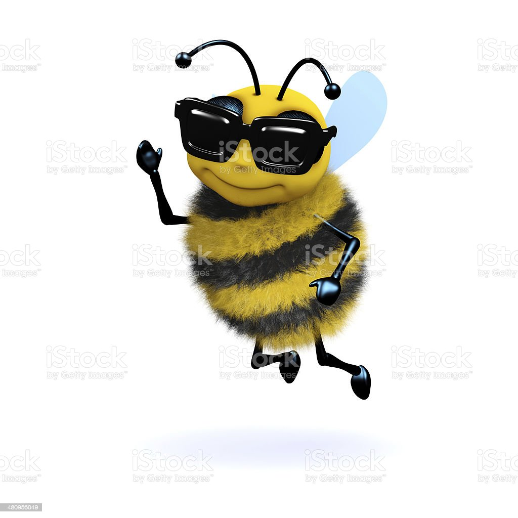 3d Cool bee stock photo