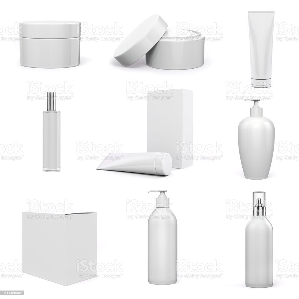 3d cosmetics pack on white background stock photo