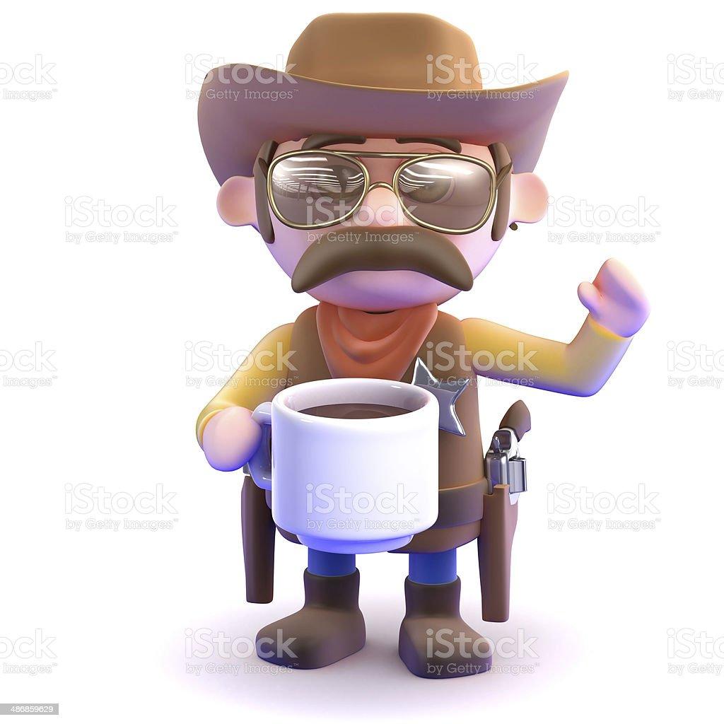 3d Cowboy coffee break stock photo