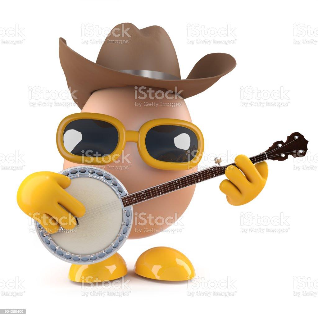3d Cowboy Egg Playing A Banjo Royalty Free Stock Photo