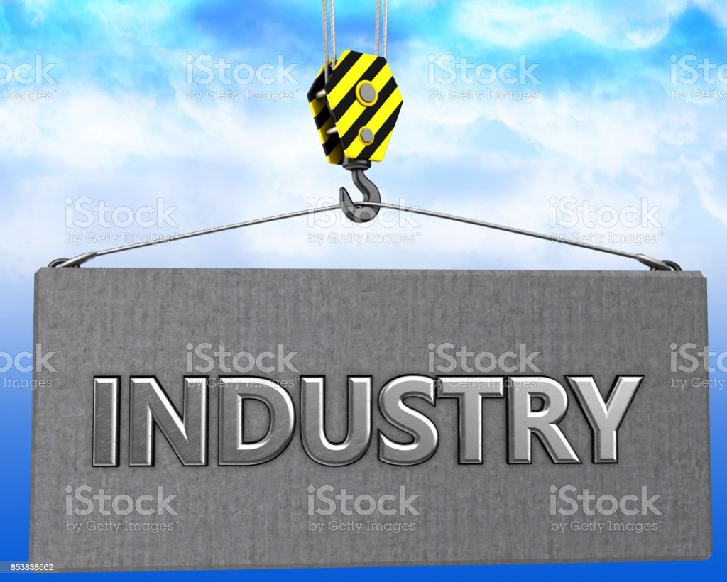 3d illustration of metal industry sign with crane hook over sky...