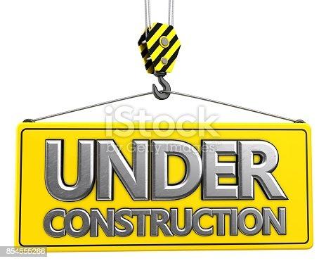 istock 3d crane hook with metallic under construction sign 854555266