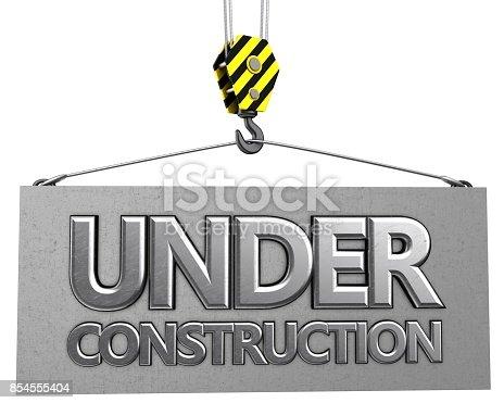 istock 3d crane hook with metallic under construction sign 854555404