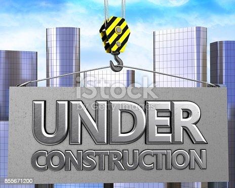 istock 3d crane hook with metallic under construction sign 855671200