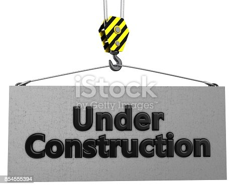 istock 3d crane hook with under construction sign 854555394