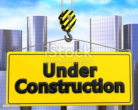 istock 3d crane hook with under construction sign 855516254