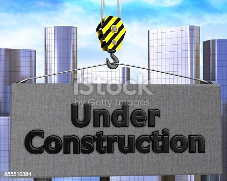 istock 3d crane hook with under construction sign 855516384