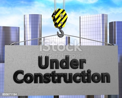 istock 3d crane hook with under construction sign 855671194