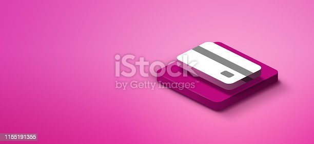 istock 3d credit card icon on pink abstract background 1155191355