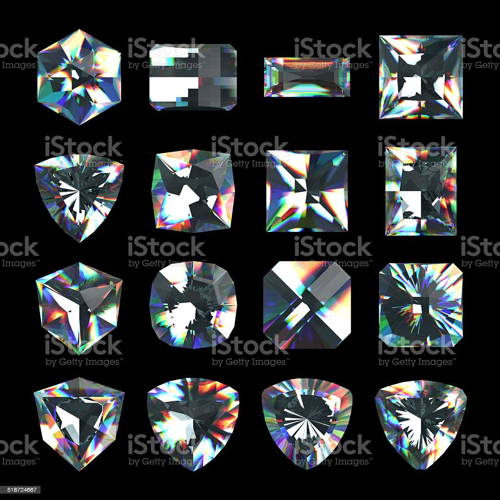 3d crystals, assorted cut gemstones, clear jewels, diamonds and brilliants stock photo