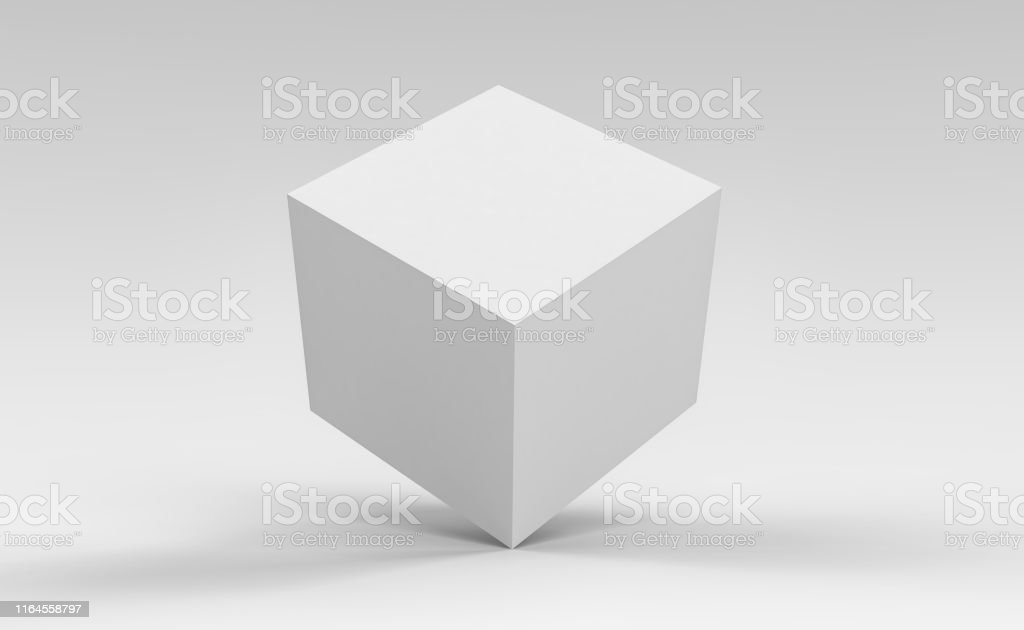 3d cube box render on isolated background for product package design mockup and template - Foto stock royalty-free di Astratto