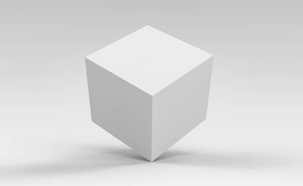 3d cube box render on isolated background for product package design mockup and template - cube shape stock pictures, royalty-free photos & images