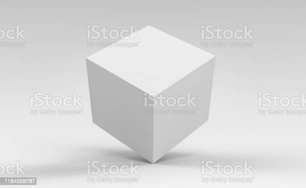 3d Cube Box Render On Isolated Background For Product Package Design Mockup And Template - Fotografie stock e altre immagini di Astratto