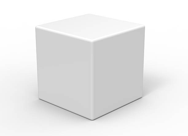 3d cube on white background - cube shape stock pictures, royalty-free photos & images