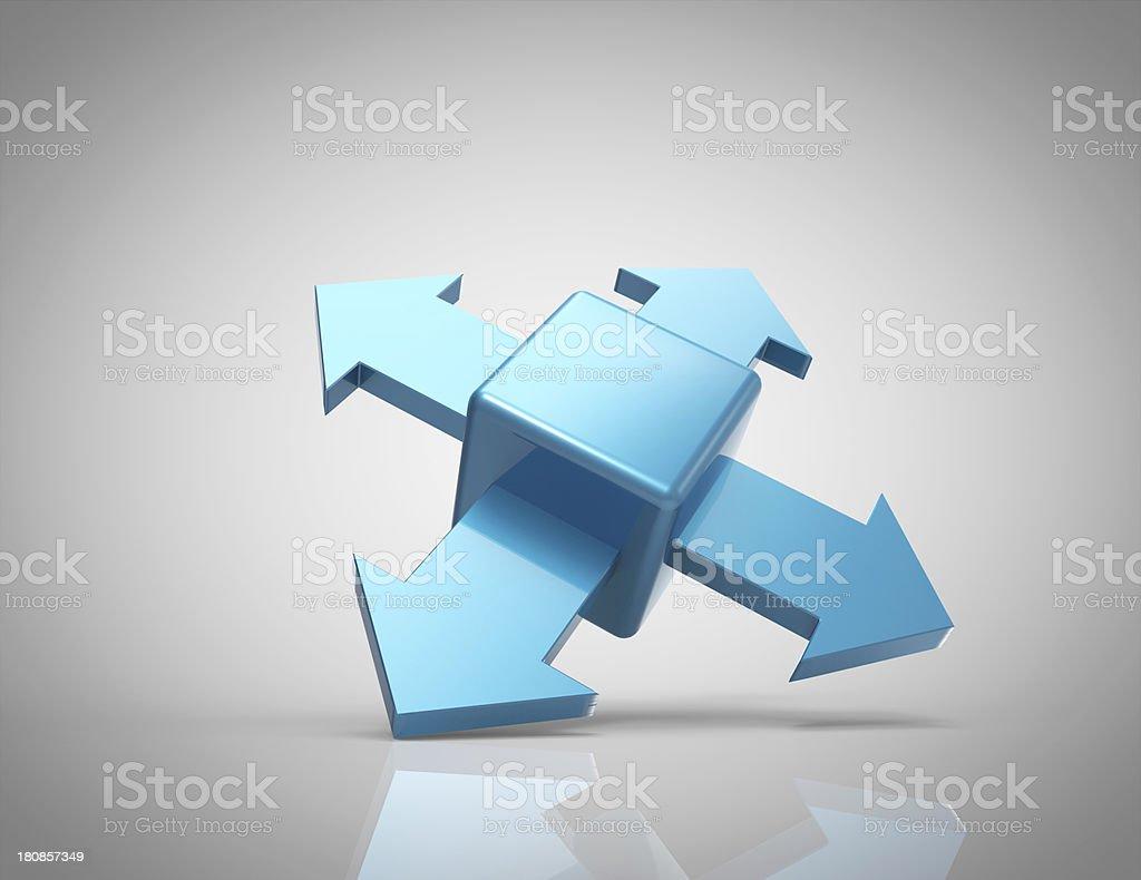 3d cube with arrows, logo design stock photo