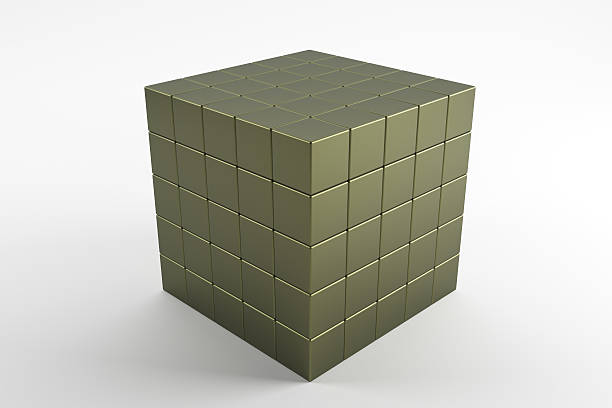 3d cubes 5x5 matted on white background - foto de stock