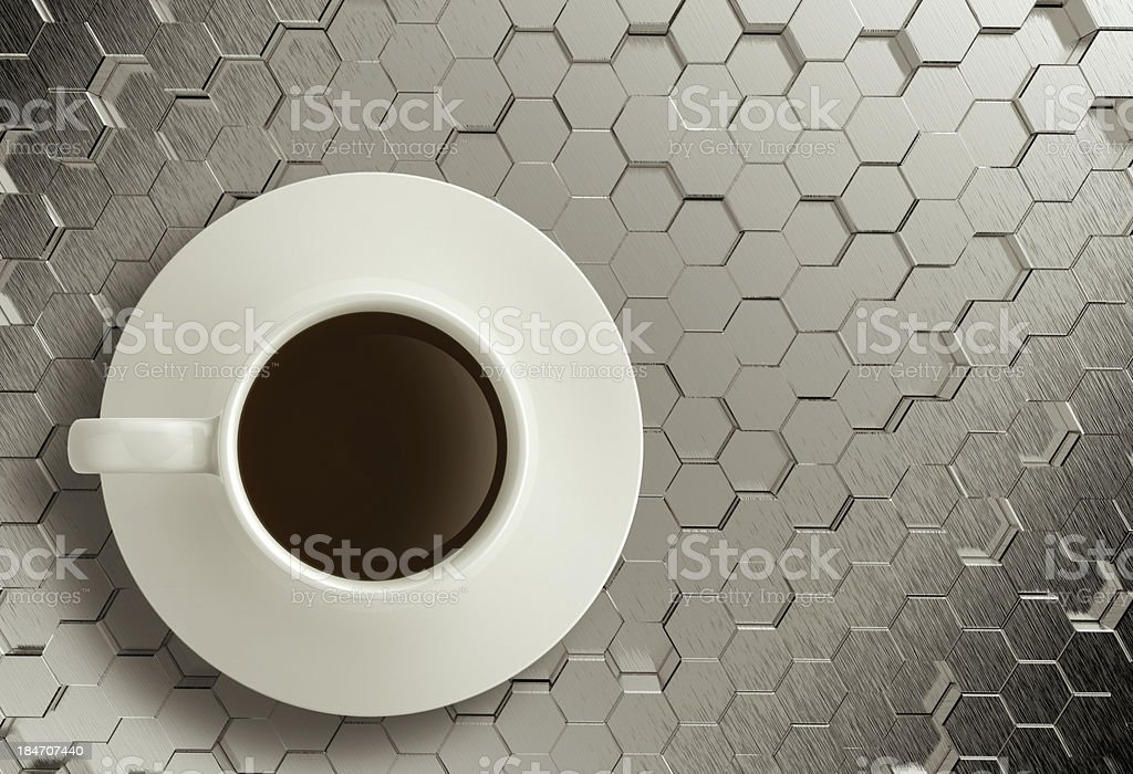 3d cup of coffee on stainless steel royalty-free stock photo