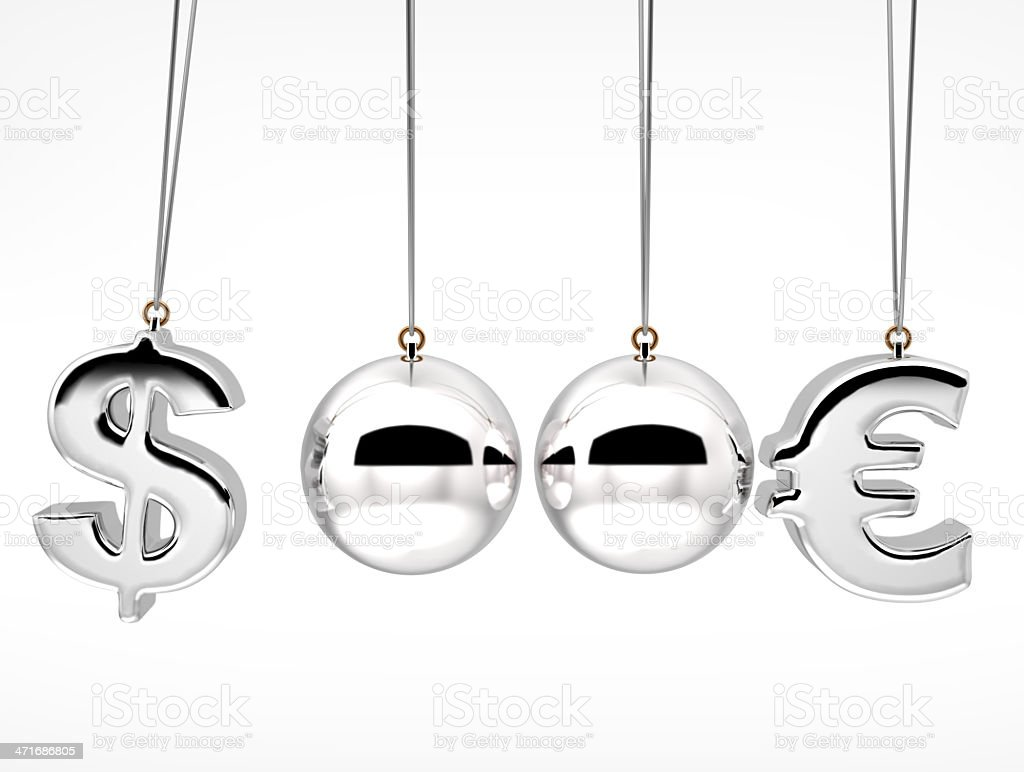 3d currency rates duel Concept from Balancing balls royalty-free stock photo