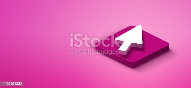 istock 3d cursor arrow on pink abstract background 1155191332