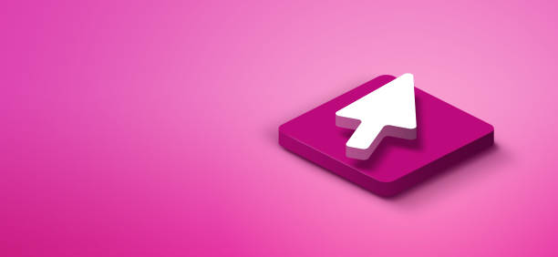3d cursor arrow on pink abstract background - cursor stock pictures, royalty-free photos & images
