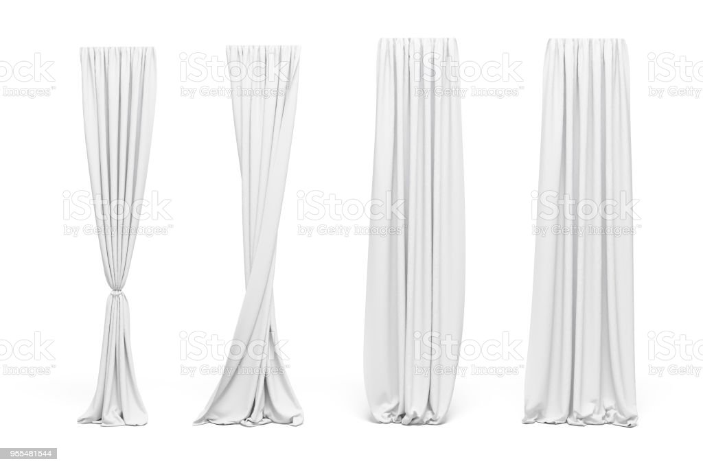 3d curtains on white background royalty-free stock photo